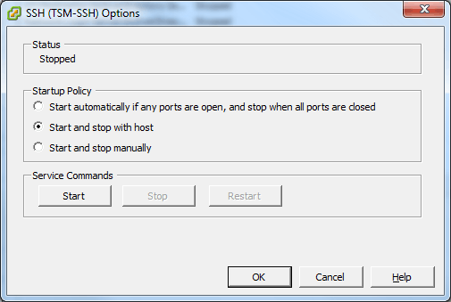 VMware SSH Options