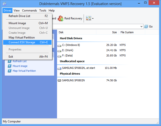 VMFS Recovery Connect ESX Storage