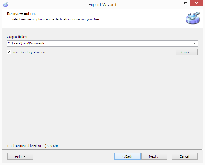 Export wizard, recovery options