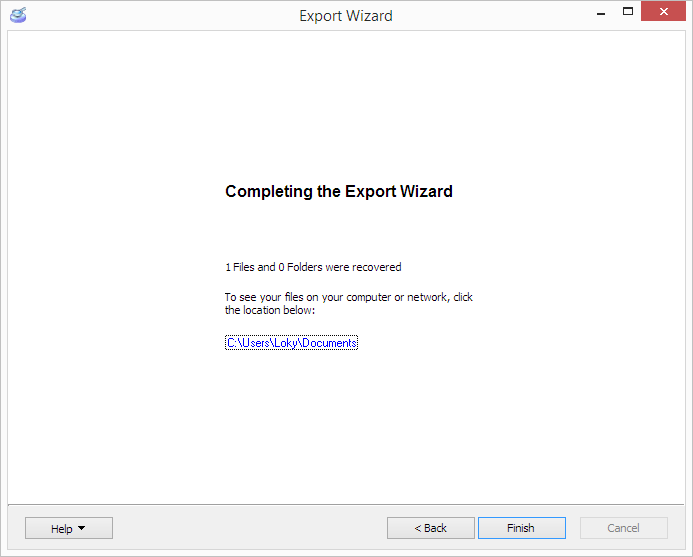 Completing the Export Wizard