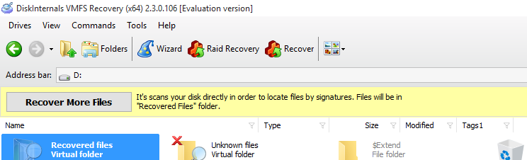 Recover more files button